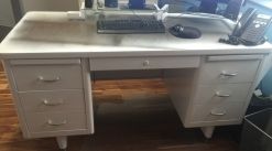 Vintage Steelcase tanker desk with matching bookcase & printer table