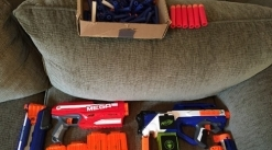 Nerf collection for sale with darts and an assorment of mags and attachments