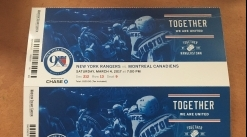 Two Tix to Rangers / Canadiens for this Sat Nite 3/4 -- GREAT SEATS!