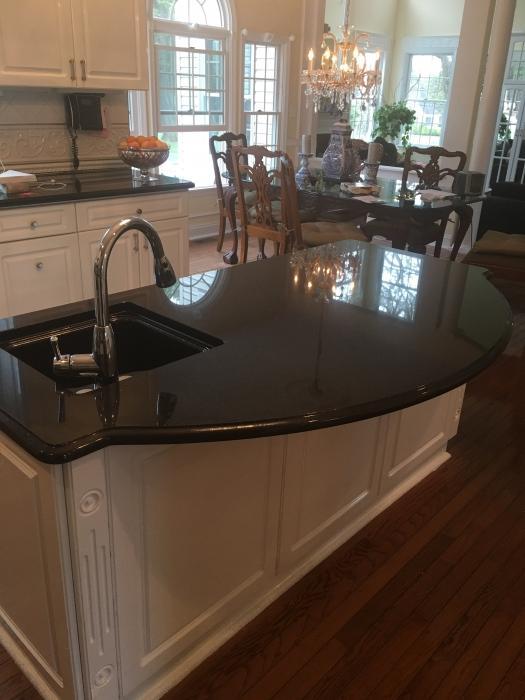 Beautiful Black Granite Center Island Countertop